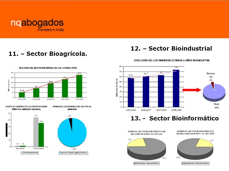 11. – Sector Bioagrícola. 12. – Sector Bioindustrial 13. - Sector Bioinformático