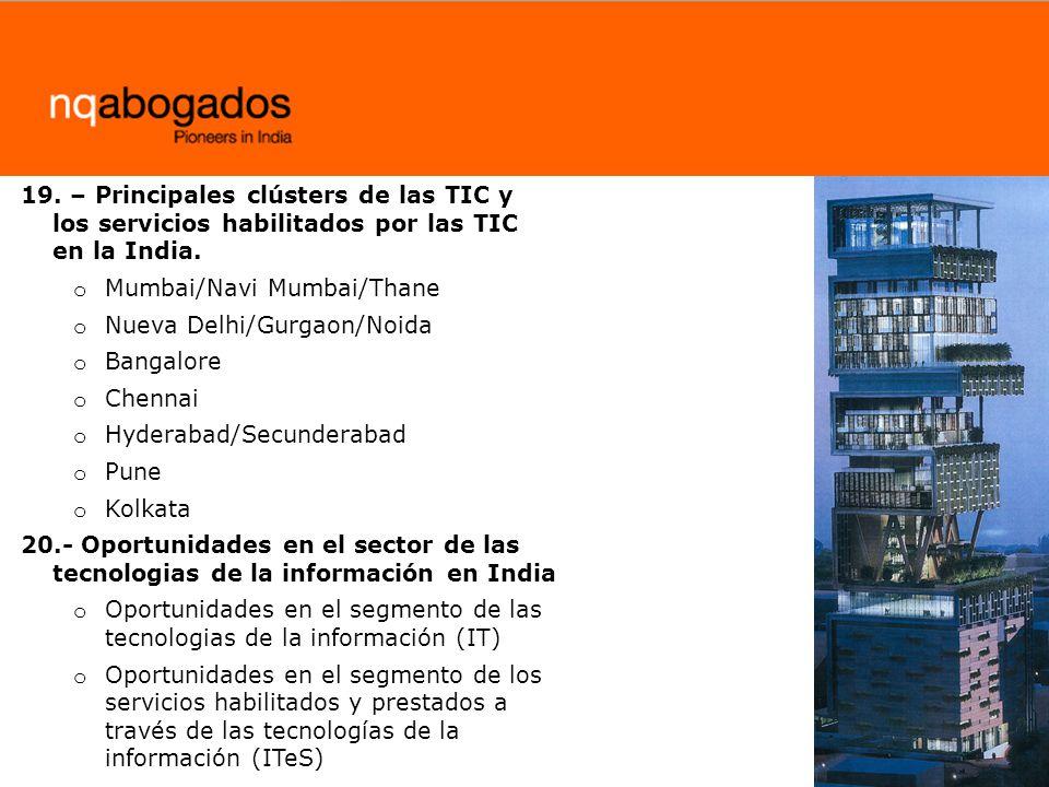 19. – Principales clústers de las TIC y los servicios habilitados por las TIC en la India.