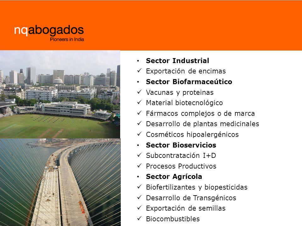 Sector Industrial Exportación de encimas. Sector Biofarmaceútico. Vacunas y proteinas. Material biotecnológico.