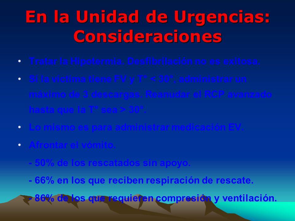 En la Unidad de Urgencias: Consideraciones
