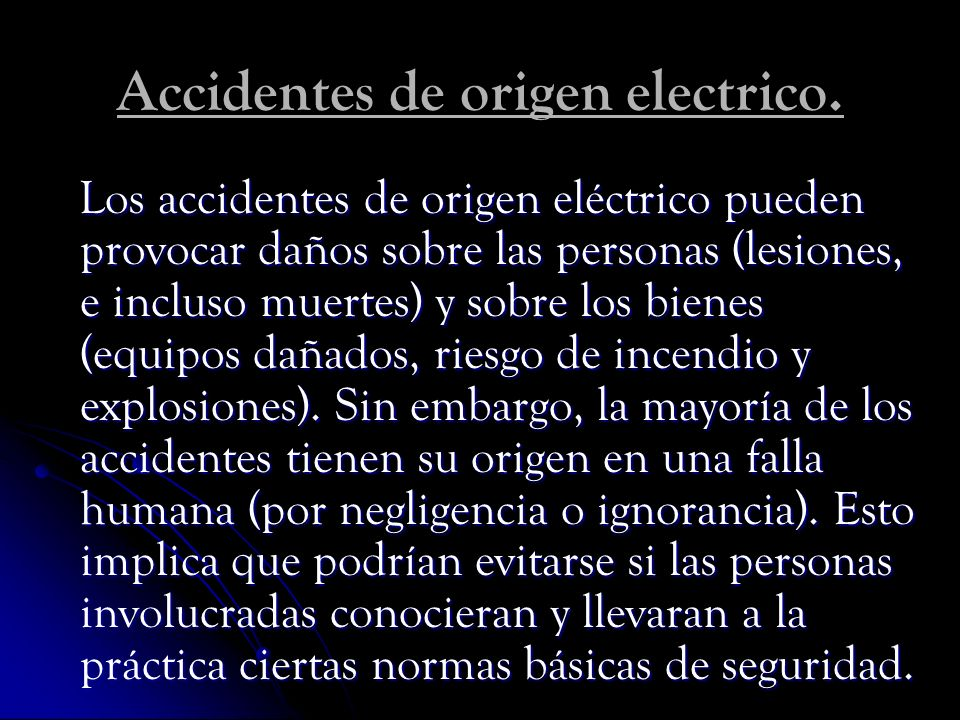 Accidentes de origen electrico.