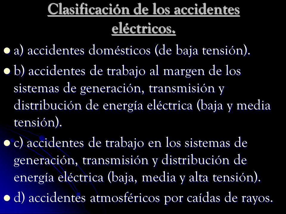Clasificación de los accidentes eléctricos.