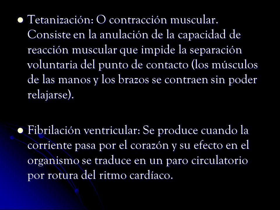 Tetanización: O contracción muscular