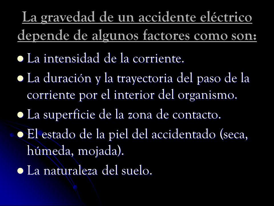 La gravedad de un accidente eléctrico depende de algunos factores como son: