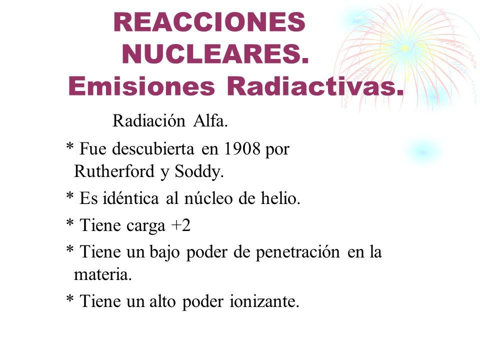 REACCIONES NUCLEARES. Emisiones Radiactivas.