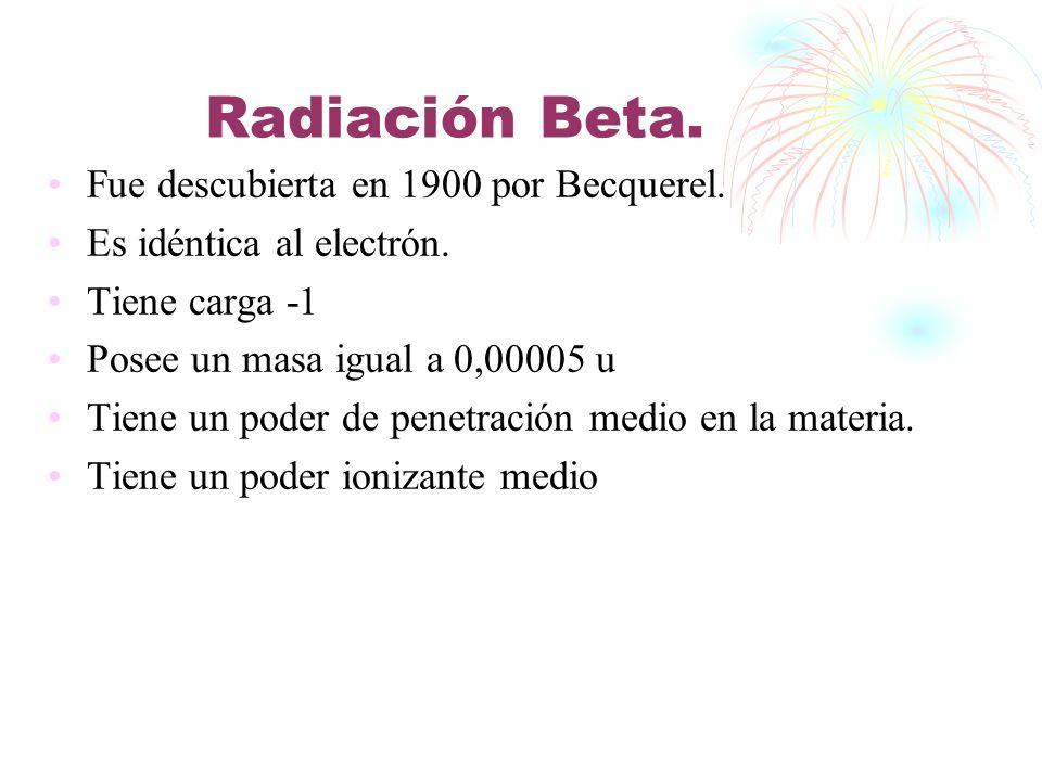 Radiación Beta. Fue descubierta en 1900 por Becquerel.