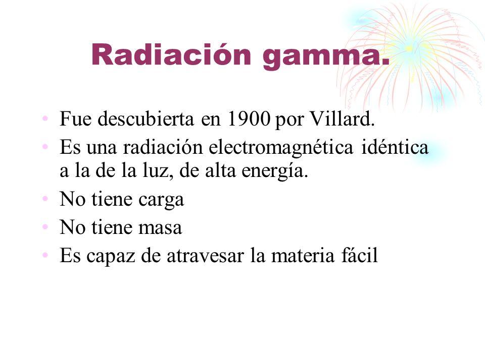 Radiación gamma. Fue descubierta en 1900 por Villard.