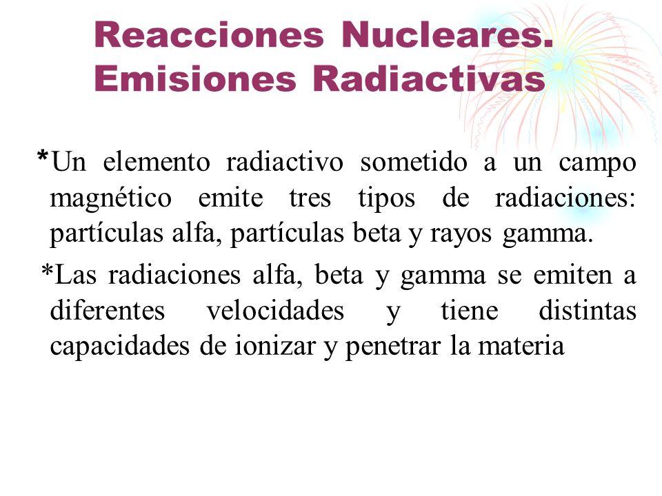 Reacciones Nucleares. Emisiones Radiactivas