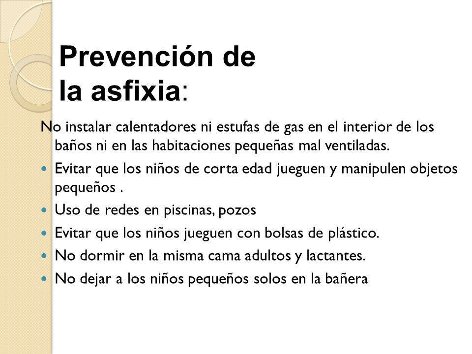 Prevención de la asfixia: