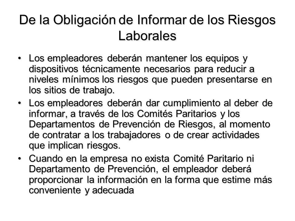 De la Obligación de Informar de los Riesgos Laborales