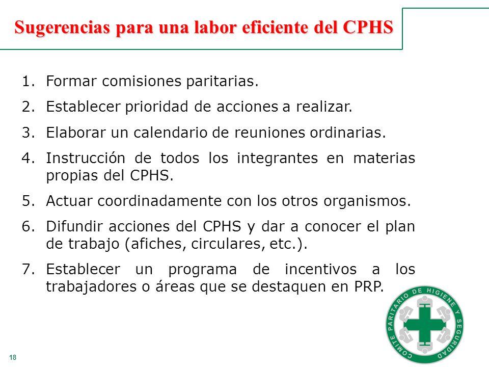 Sugerencias para una labor eficiente del CPHS