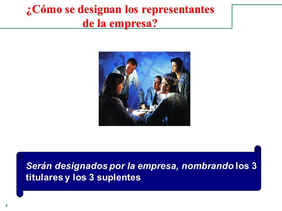¿Cómo se designan los representantes de la empresa