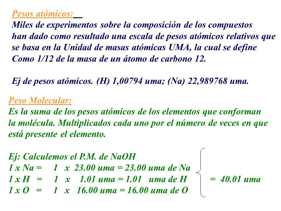 Pesos atómicos: Miles de experimentos sobre la composición de los compuestos. han dado como resultado una escala de pesos atómicos relativos que.