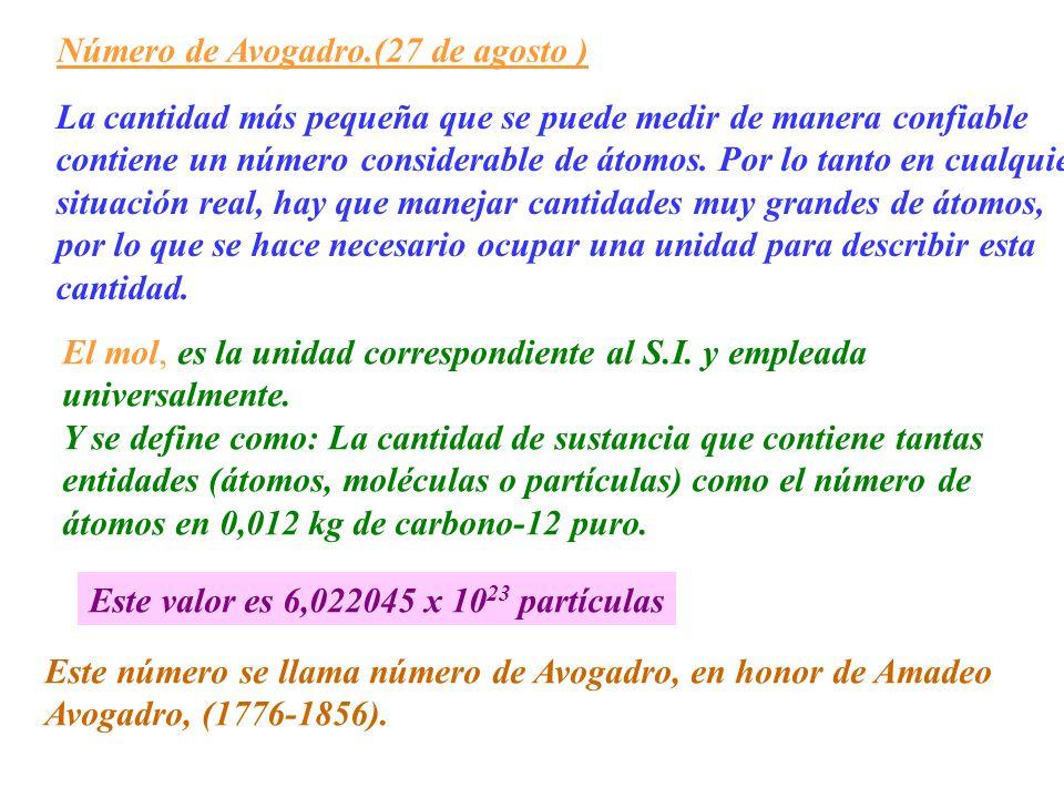 Número de Avogadro.(27 de agosto )