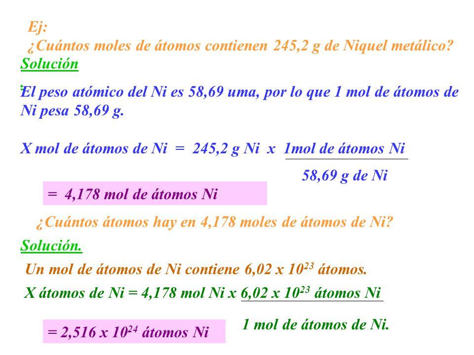 Ej: ¿Cuántos moles de átomos contienen 245,2 g de Niquel metálico Solución. El peso atómico del Ni es 58,69 uma, por lo que 1 mol de átomos de.