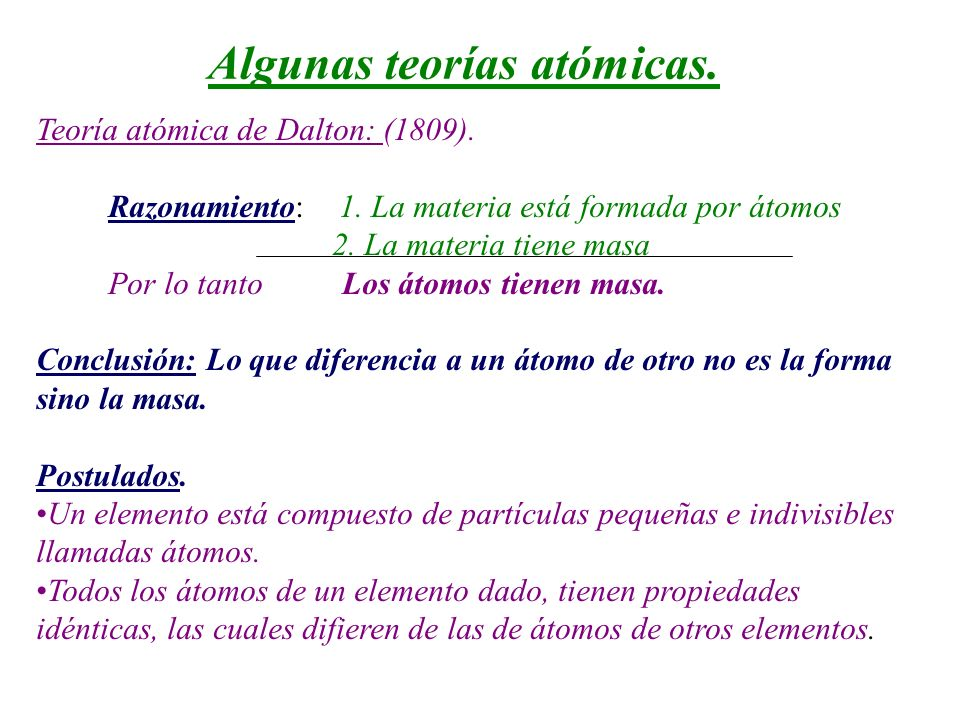 Algunas teorías atómicas.