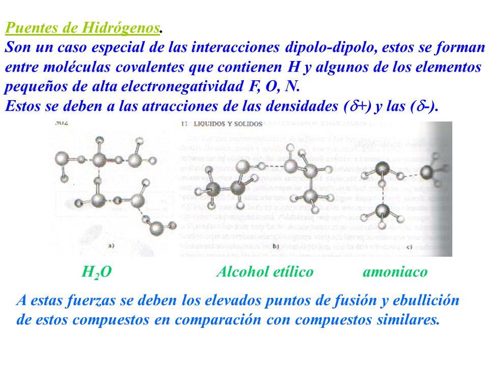 Puentes de Hidrógenos. Son un caso especial de las interacciones dipolo-dipolo, estos se forman.