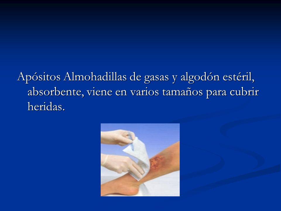 Apósitos Almohadillas de gasas y algodón estéril, absorbente, viene en varios tamaños para cubrir heridas.