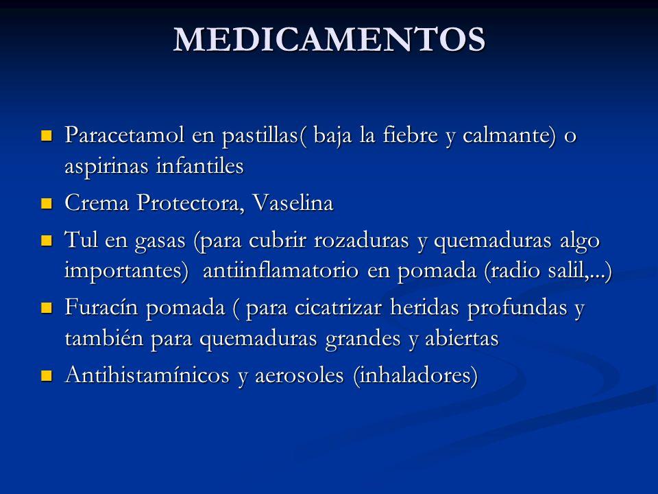 MEDICAMENTOS Paracetamol en pastillas( baja la fiebre y calmante) o aspirinas infantiles. Crema Protectora, Vaselina.