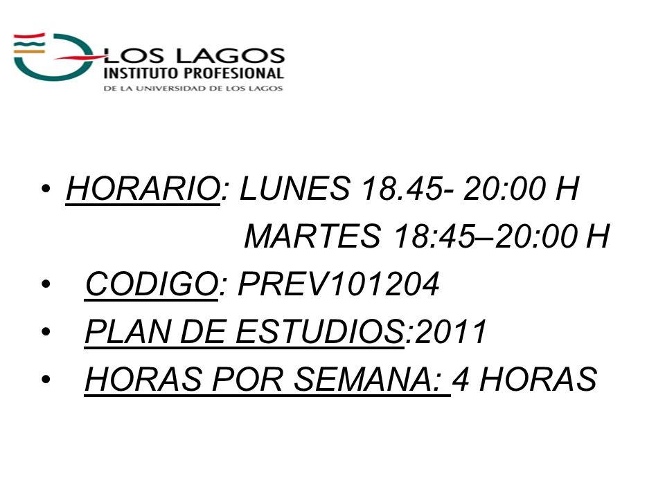 HORARIO: LUNES 18.45- 20:00 HMARTES 18:45–20:00 H.