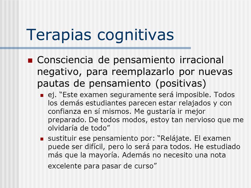 Terapias cognitivas Consciencia de pensamiento irracional negativo, para reemplazarlo por nuevas pautas de pensamiento (positivas)