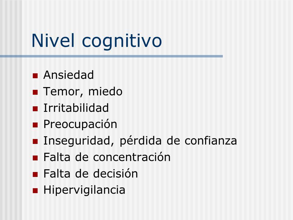 Nivel cognitivo Ansiedad Temor, miedo Irritabilidad Preocupación