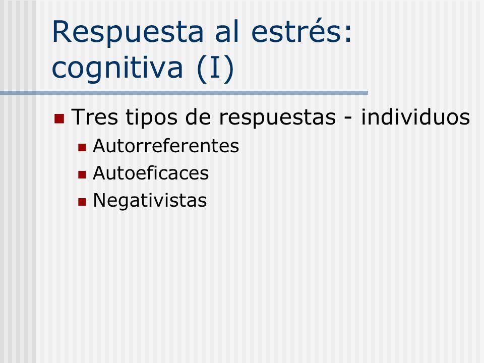 Respuesta al estrés: cognitiva (I)