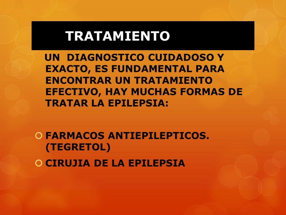 TRATAMIENTO UN DIAGNOSTICO CUIDADOSO Y EXACTO, ES FUNDAMENTAL PARA ENCONTRAR UN TRATAMIENTO EFECTIVO, HAY MUCHAS FORMAS DE TRATAR LA EPILEPSIA: