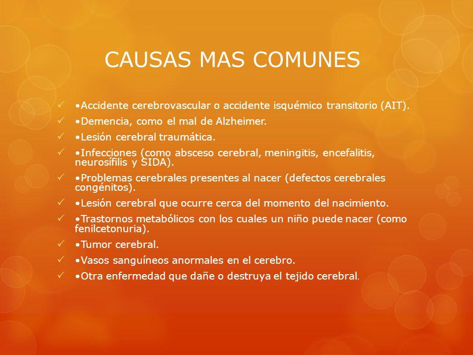CAUSAS MAS COMUNES• Accidente cerebrovascular o accidente isquémico transitorio (AIT). • Demencia, como el mal de Alzheimer.