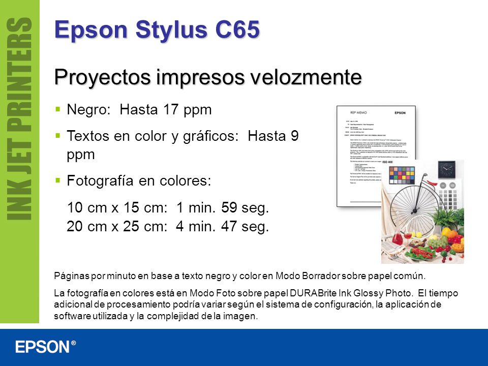 Epson Stylus C65 Proyectos impresos velozmente Negro: Hasta 17 ppm