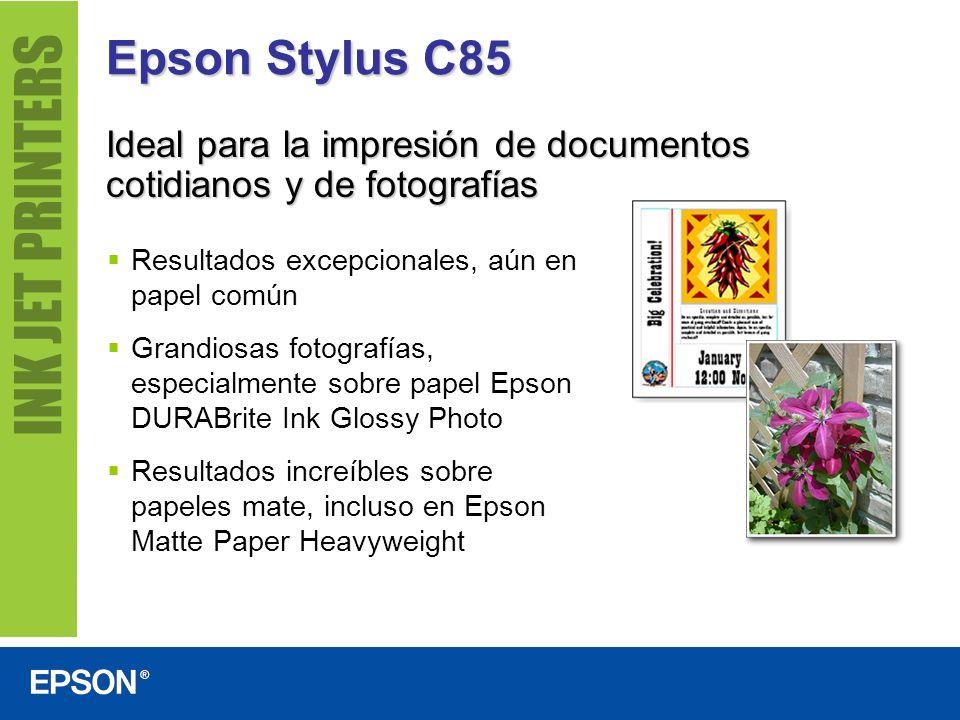 Epson Stylus C85Ideal para la impresión de documentos cotidianos y de fotografías. Resultados excepcionales, aún en papel común.
