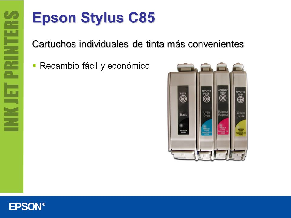 Epson Stylus C85 Cartuchos individuales de tinta más convenientes