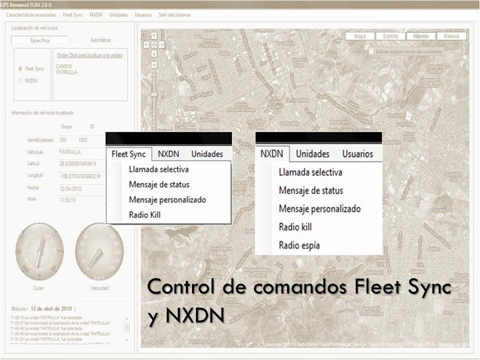 Control de comandos Fleet Sync y NXDN