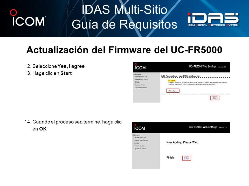 Actualización del Firmware del UC-FR5000
