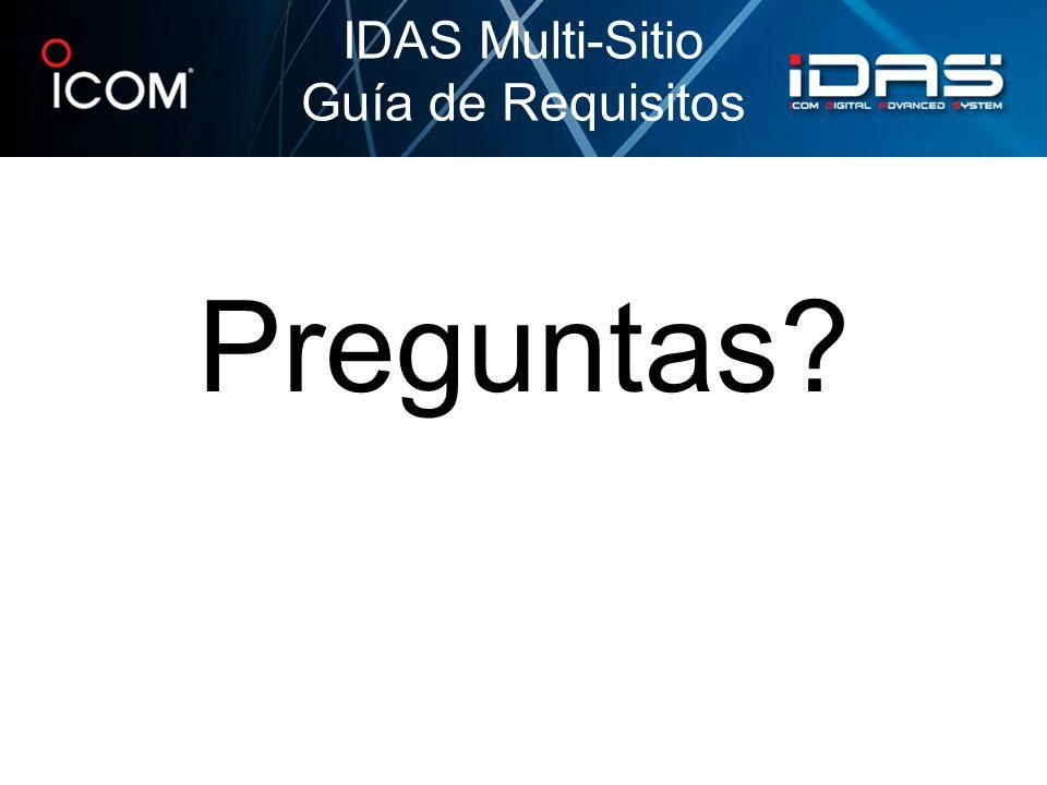 IDAS Multi-Sitio Guía de Requisitos Preguntas
