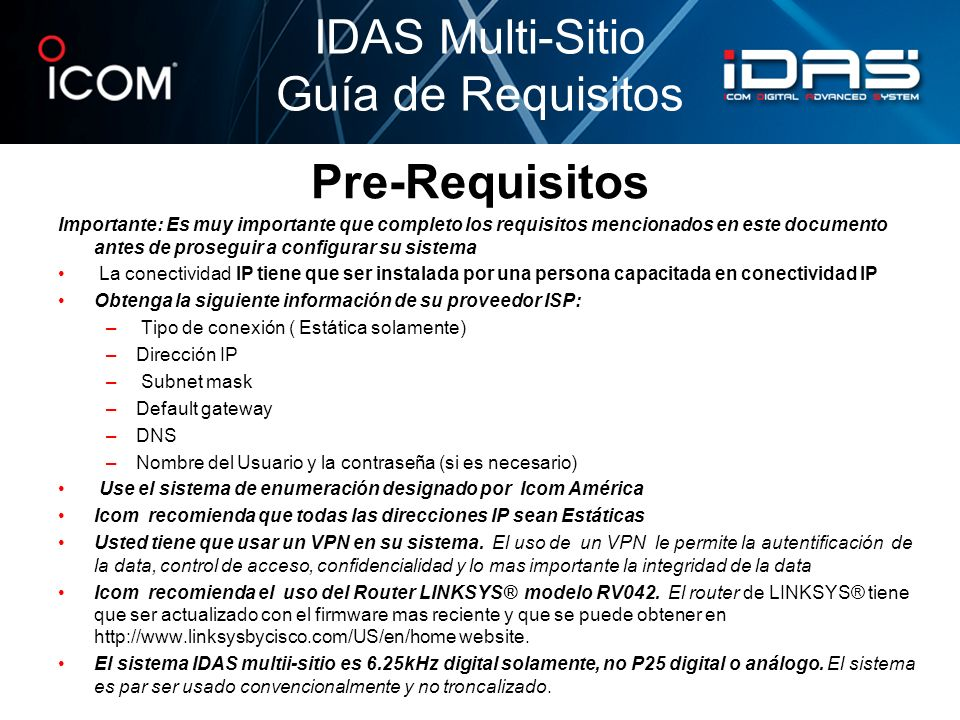 IDAS Multi-Sitio Guía de Requisitos Pre-Requisitos