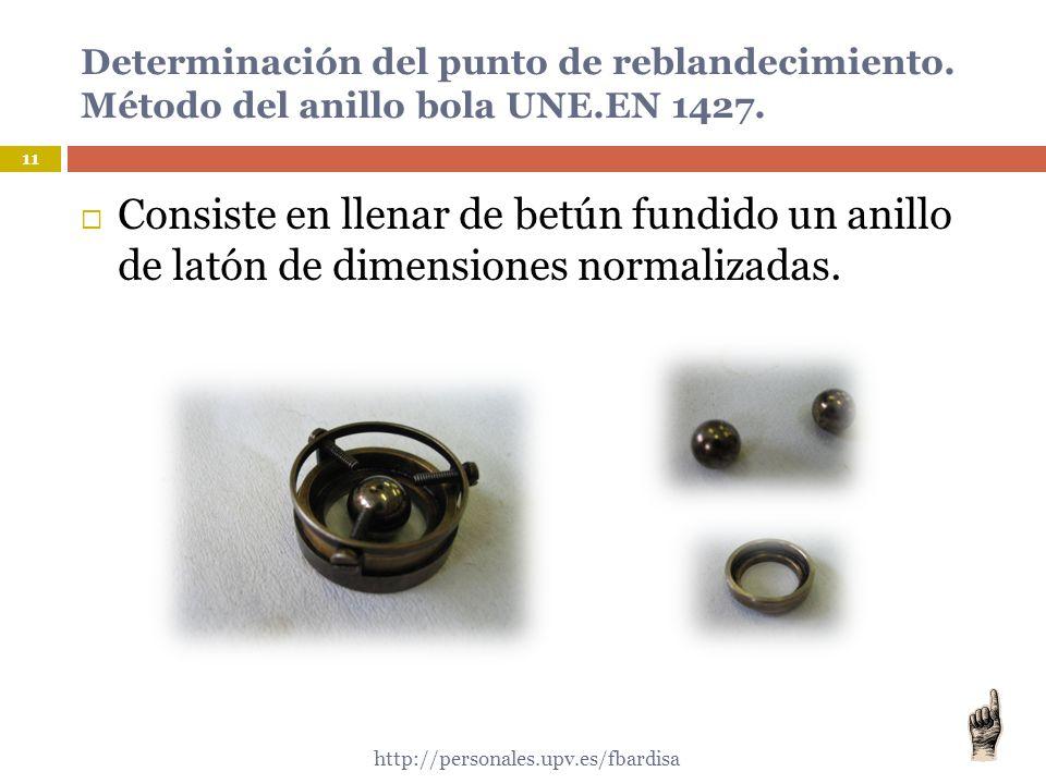 Determinación del punto de reblandecimiento. Método del anillo bola UNE.EN 1427.