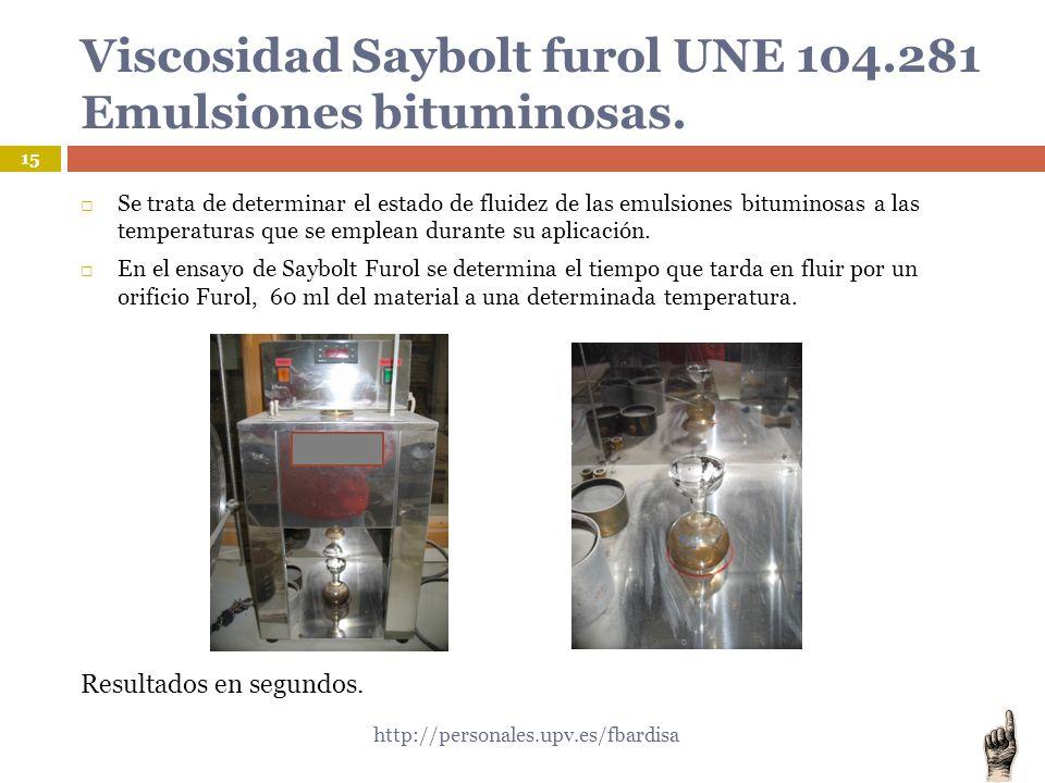 Viscosidad Saybolt furol UNE 104.281 Emulsiones bituminosas.