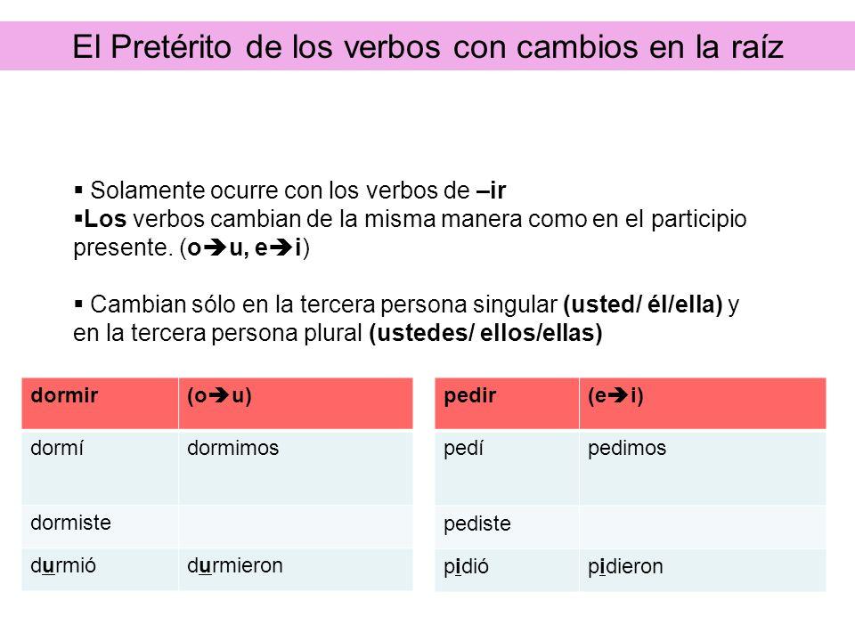 El Pretérito de los verbos con cambios en la raíz