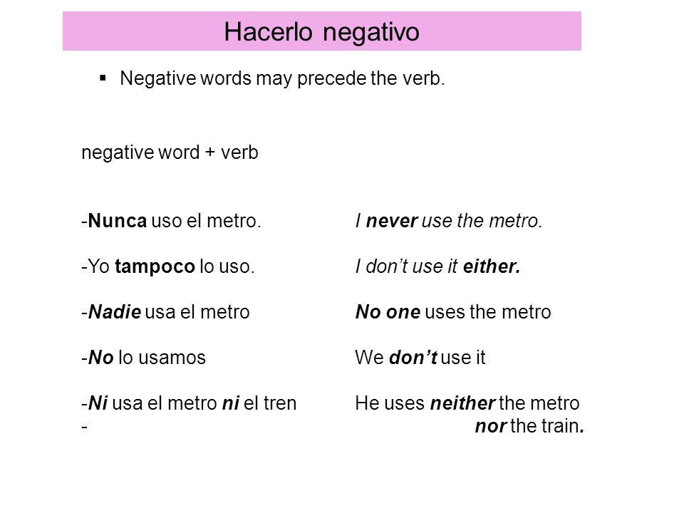 Hacerlo negativo Negative words may precede the verb.