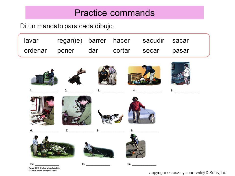 Practice commands Di un mandato para cada dibujo. lavar regar(ie)