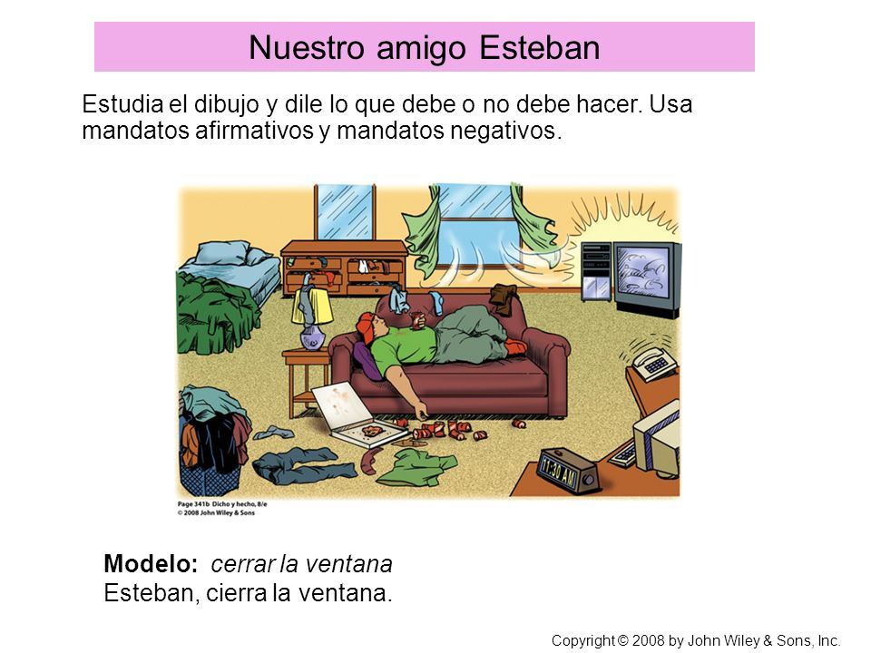 Nuestro amigo Esteban Estudia el dibujo y dile lo que debe o no debe hacer. Usa mandatos afirmativos y mandatos negativos.