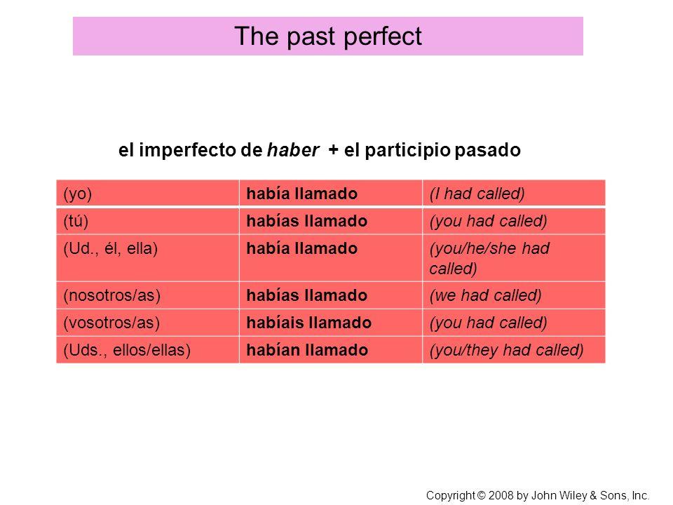 el imperfecto de haber + el participio pasado