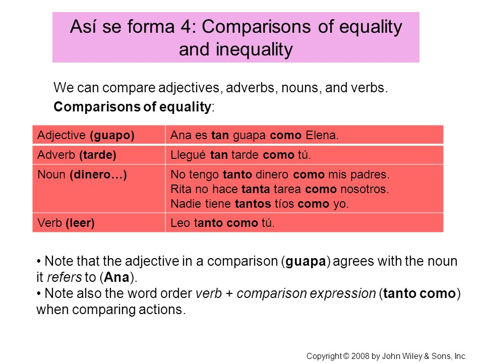 Así se forma 4: Comparisons of equality and inequality