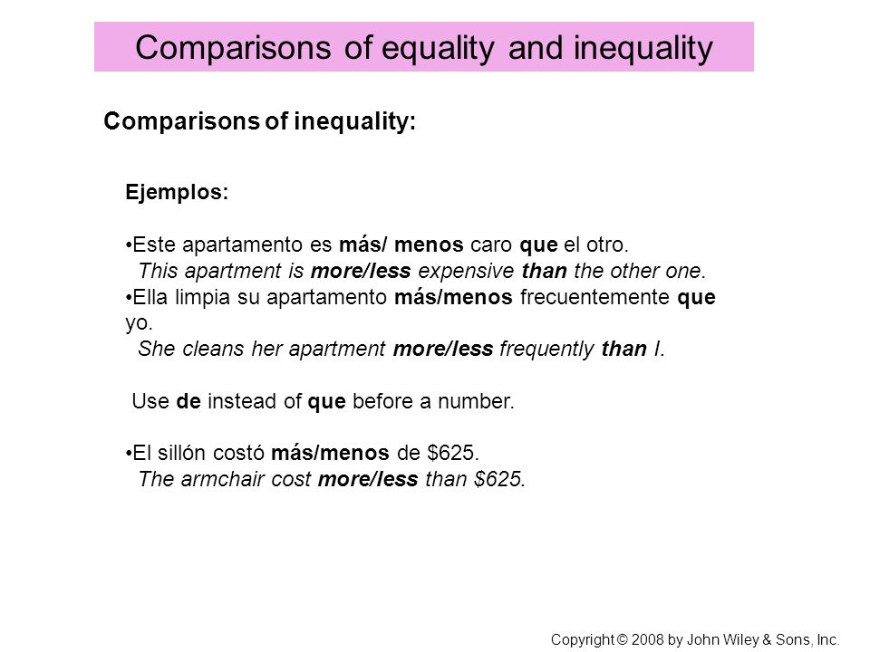 Comparisons of equality and inequality