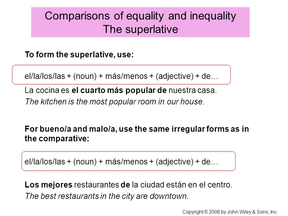 Comparisons of equality and inequality The superlative