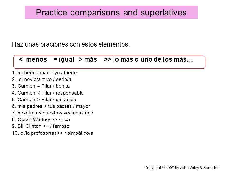 Practice comparisons and superlatives