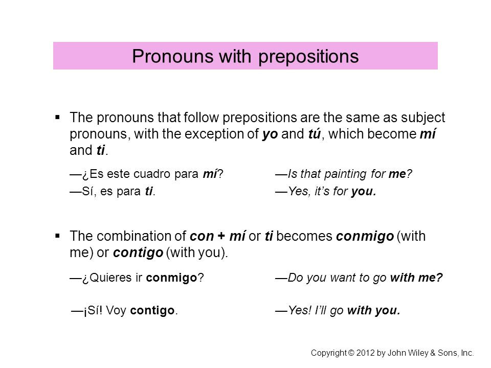 Pronouns with prepositions