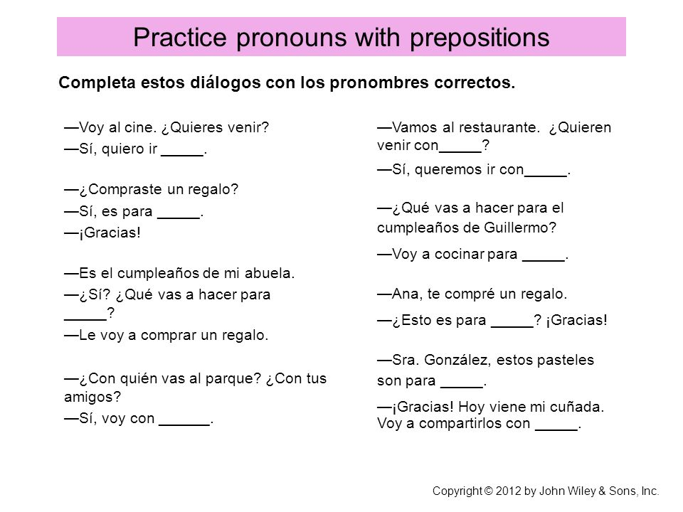 Practice pronouns with prepositions