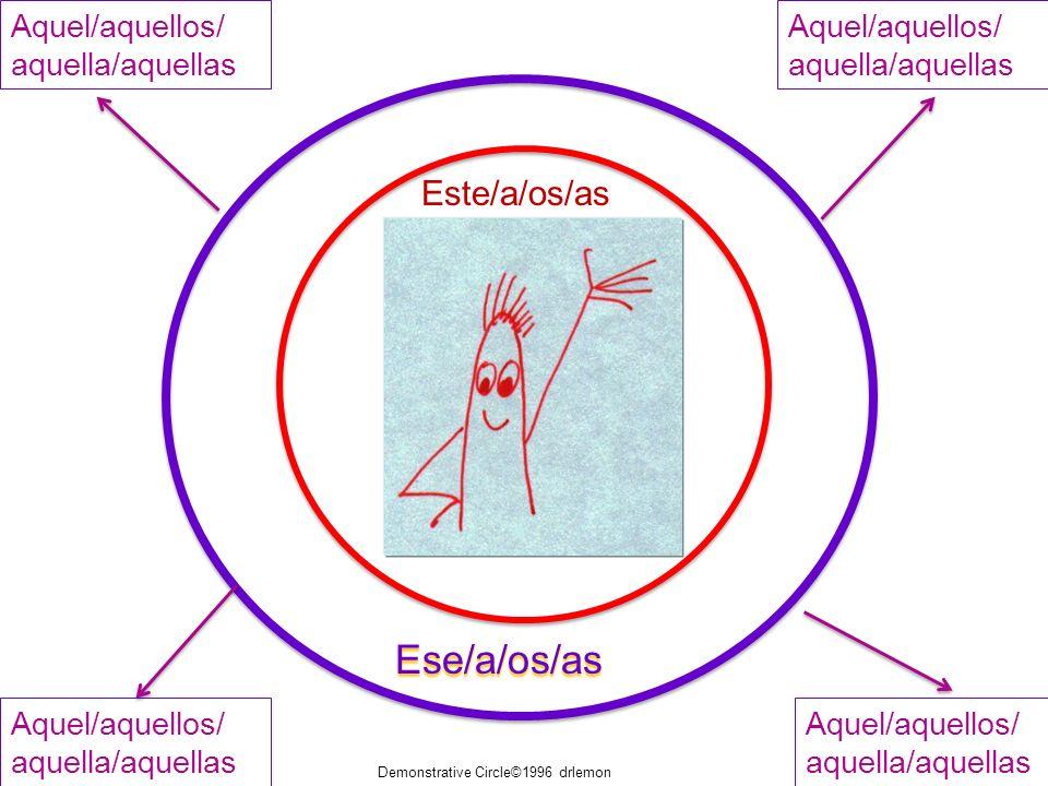 Ese/a/os/as Este/a/os/as Aquel/aquellos/ aquella/aquellas